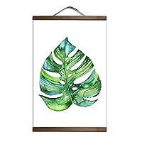 カスタム北欧スタイルの緑の植物のキャンバスの装飾的な絵画店の寝室のリビングルームの壁の芸術無垢材のスクロール絵画の装飾-30x45cm_P028-55