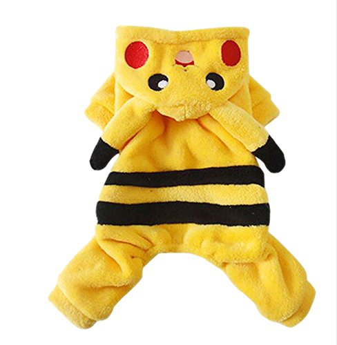 Easting&co Adorable Pikachu Halloween Dog Costumes Dog Hoodie Jumpsuit Dog Coat Pet Dog Clothes (M)