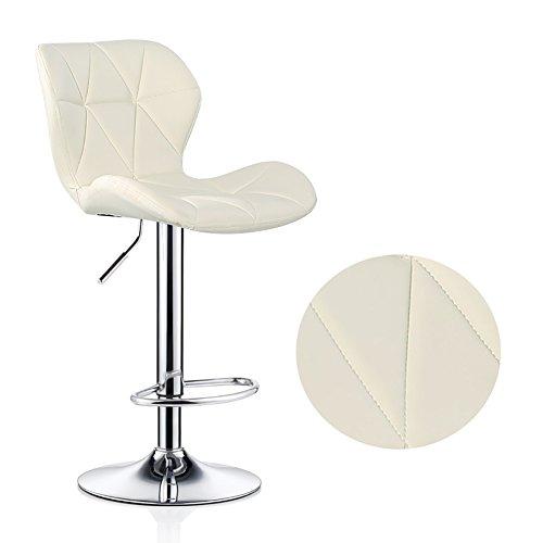 XINKONG Frühstück sichel Stuhl Stühle höhenverstellbar Rückenlehne stark basische Chromplatte for eine Küche 120Kg maximale Last bar (Color : Off White, Size : 60-80cm)