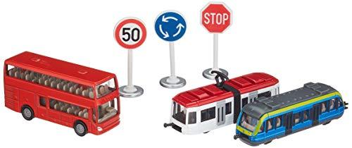 siku 6303, Geschenkset - Nahverkehr, Metall/Kunststoff, Multicolor, 1 Doppelstock-Reisebus, 1 Straßenbahn, 1 Nahverkehrszug, 3 Schilder
