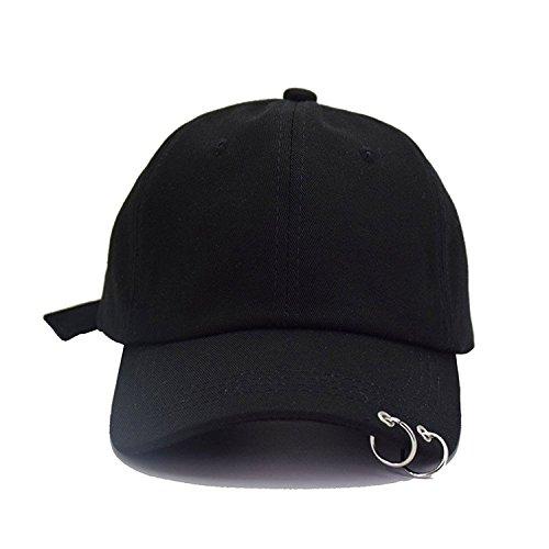 Amkun Baseball Cap Version K-Pop Stil Hysteresenhut für Frauen Männer Schwarz 3