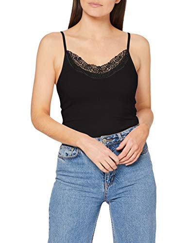 Vero Moda Vminge Lace Singlet Ga Noos Blusas, Black, L para Mujer