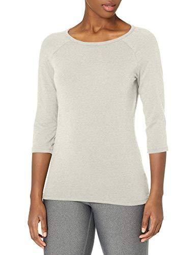 Hanes Women's Stretch Cotton Raglan Sleeve Tee, Grey Heather, X Large