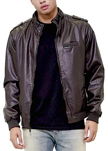 Members Only Men's Big and Tall Vegan Leather Iconic Racer Jacket, Dark Brown, 5X