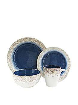 American Atelier Round Dinnerware Sets   Blue Kitchen Plates Bowls and Mugs   16 Piece Stoneware Granada Collection   Dishwasher & Microwave Safe   Service for 4