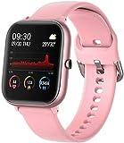 Reloj inteligente de 1.4 pulgadas de pantalla cuadrada de deportes podómetro pulsera IP67 impermeable mensaje empuje inteligente recordatorio para Android/iOS rosa
