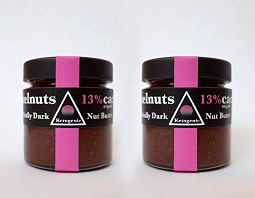 2x Ketogenic 'Really Dark' Hazelnut-Chocolate Spread - 180g | Certified Organic Keto nut Butter Made in The UK, Highly Nutritious | Hazelnuts, raw Cacao, sea Salt Flakes
