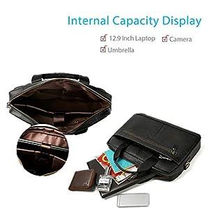 418mJNOeaEL. SS300  - FANDARE Hombres Maletín Impermeable 12.9 Inch Laptop Bolso de Hombro Business Bolsa Bandolera Cuero Bolsa de Mano Marrón…
