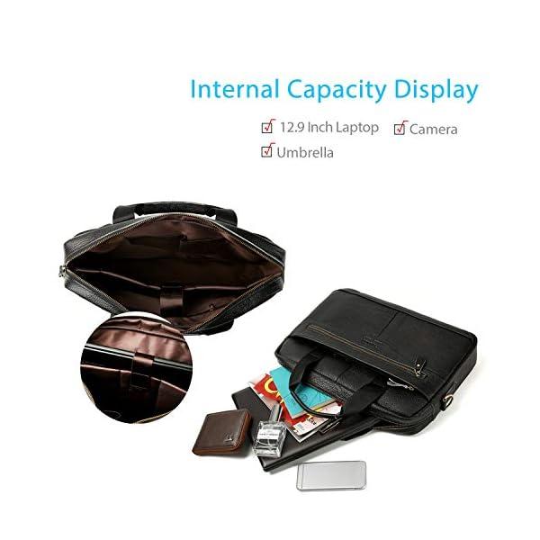 418mJNOeaEL. SS600  - FANDARE Hombres Maletín Impermeable 12.9 Inch Laptop Bolso de Hombro Business Bolsa Bandolera Cuero Bolsa de Mano Marrón A