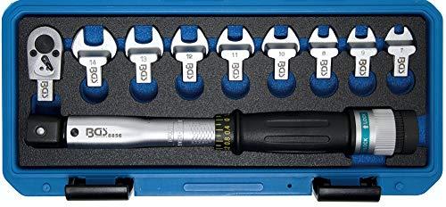 BGS Technic - Llave dinamométrica con llave plana de 7 a 14 mm + trinquete