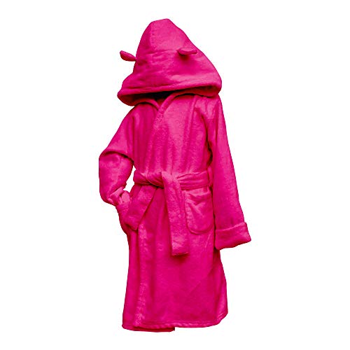 Frenchie Mini Couture Toddler Bathrobe, Hooded Velour Kids Robe, Hot Pink, 5T
