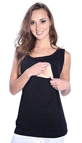 Mija - Umstandsmode 2 in 1 Stillshirt & Umstandsshirt/Stilltop/Umstandstop 1109 (L / EU40, Schwarz)