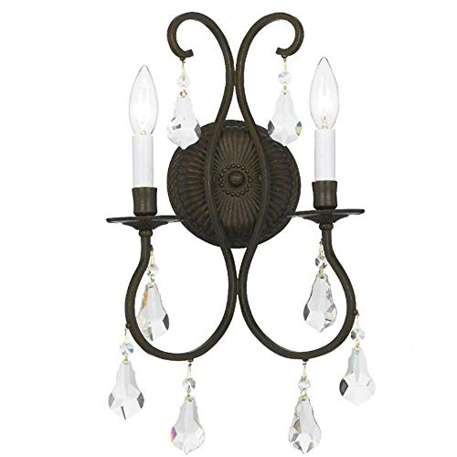 Crystorama 5012-EB-CL-S Ashton EX - Two Light Wall Sconce, English Bronze Finish with Clear Swarovski Strass Crystal