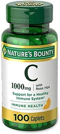 Vitamina C + Rosa Hips by Nature's Bounty. La vitamina C es una vitamina líder para el apoyo inmune 1000 mg 100 cápsulas recubiertas