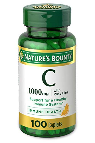 Vitamin C + Rose Hips by Nature's Bounty. Vitamin C is a Leading Vitamin for Immune Support 1000mg 100 Coated Caplets