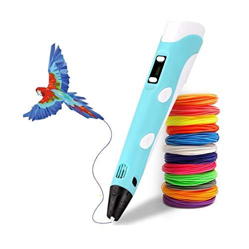 HAOJIE Penna per Stampa 3D, Penna 3D Doodler con filamento PLA a 12 Colori (Totale 36 m), PLA e ABS Compatibile, Giocattolo Creativo, Grande Regalo di Artigianato Artistico per Bambini e Adulti