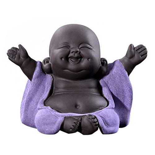 Homoyo Chino Yixing Thé Animales Zen Moine Morado Arcilla Teapet Decorativo Tradicional Buda de Cerámica, Kung Fu The, Figura decorativa de escritorio para los amantes del té bandeja de té