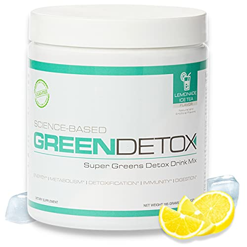 Science Based Green Detox by Six Pack Abs (Lemonade Ice Tea) – Superfood Drink Mix - Sugar Free, Vegan-Friendly - Over a Dozen Superfoods in Each Serving
