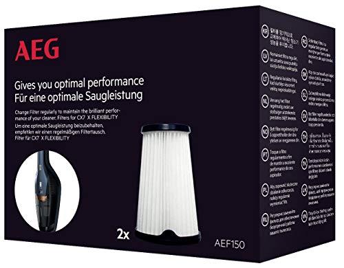 AEG AE150 Filterset für CX7-2 (Doppelpack, Innenfilter, Staubsauger Filter, optimale Saugleistung und Filtrationsleistung, regelmäßiger Filtertausch, einfache Reinigung und Austausch, schwarz/weiß)