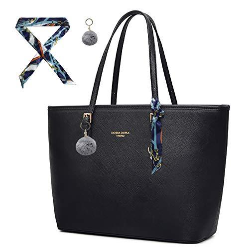 JOLIGAEA Damen Handtasche Shopper Handtasche Schwarz Groß, Damen Tasche ür Büro Schule Einkauf, Damen Aktentasche, mit Seidenschal und Fellkugel, Schwarz