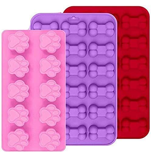Silikonformen 3-teiliges Set mit Pfotenabdruck- und Knochen-Design wiederverwendbar für Eiswürfel/Schokolade geeignet für Backofen, Mikrowelle und Gefrierschrank Spülmaschinenfest–Rosa, Rot, Lila