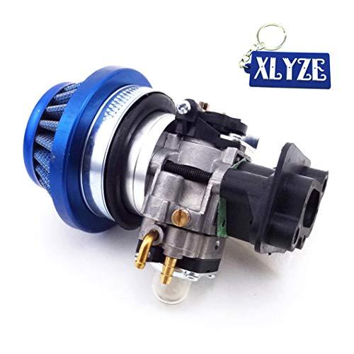 Xlyze Carburateur en alliage avec pipe d'admission et filtres à air pour pocket bike de 43 cc 49 cc 50 cc 52 cc 15 mm bleu