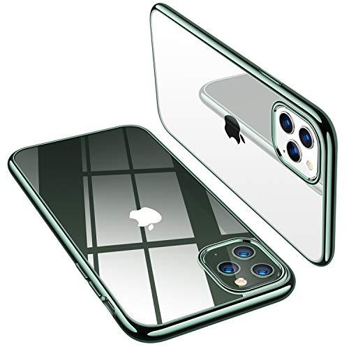 TORRAS Crystal Clear kompatibel mit iPhone 11 Pro Hülle Dünn Vergilbungsfrei Durchsichtig Handyhülle Hülle Silikon Slim Schutzhülle (Nachtgrün)
