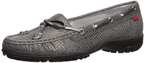 MARC JOSEPH NEW YORK Women's Leather Made in Brazil Cypress Hill Golf Shoe, Pewter Python Metallic, 9 M US