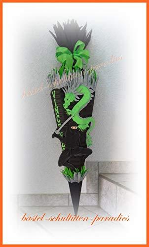 Schultüten Bastelset Ninja mit Drachen schwarz-grün
