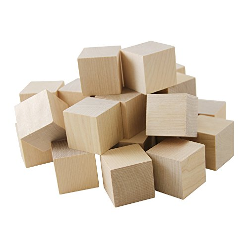 1 Inch Wooden Cubes, Box 50 Unfinished Birch Cubes, Wooden Square Baby Blocks, for Puzzle Making, Crafts, and DIY Projects by Woodpeckers