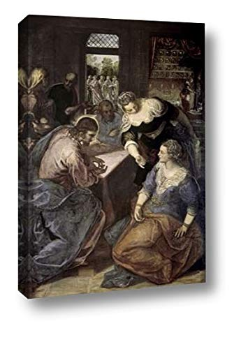 """Museumist in The House of Mary and Martha by Jacopo Tintoretto - 11"""" x 16"""" Canvas Art Print Gallery Wrapped - Ready to Hang"""
