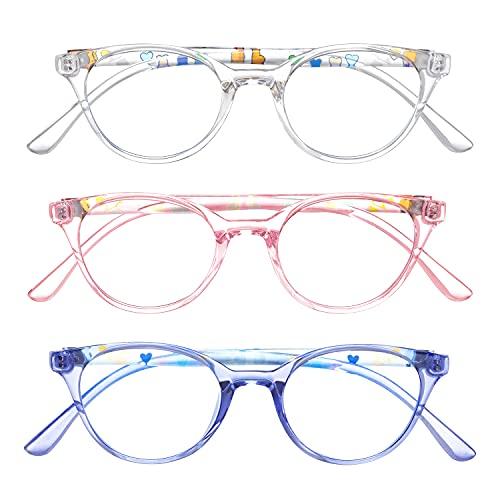 Gafas de luz azul para niños, ligeras TR90, protección de ojos para teléfono celular, computadora, juegos, televisión, uso anti fatiga visual (transparente, blanco, rosa y azul)