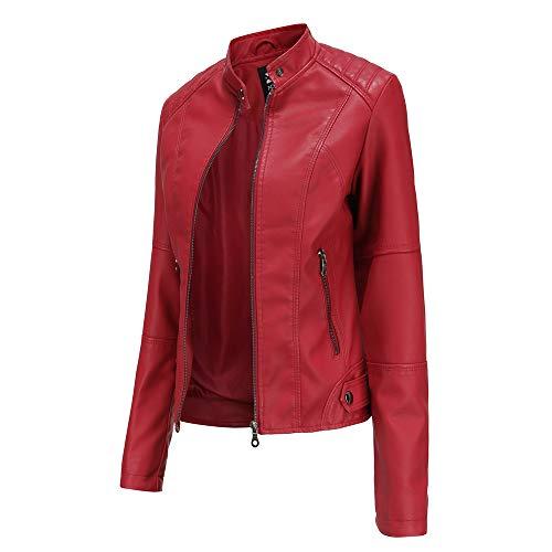 Hiser Kunstlederjacke Damen, Herbst und Winter Kurze Jacke Casual PU Lederjacke Bikerjacke mit Reißverschluss und Tasche (Rot,XL)