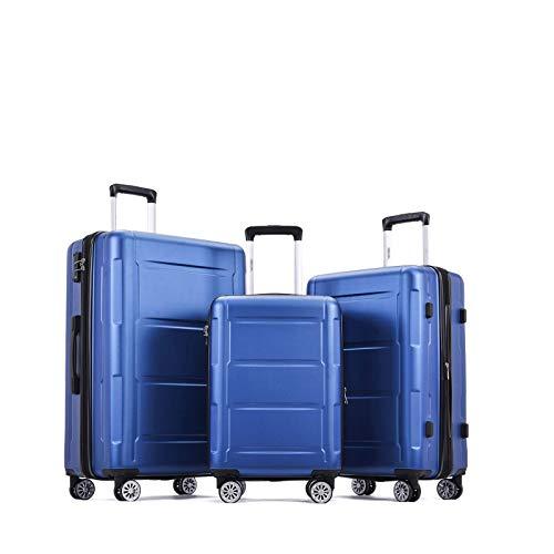 Juego Maletas Set de Maletas Equipaje De Mano Con Candado TSA Incorporado Bolsa De Viaje Carcasa De ABS Bolsa Con Ruedas Súper Liviana Maleta Para Equipaje De Viaje De Negocios Traje De 3 Piezas (Azul