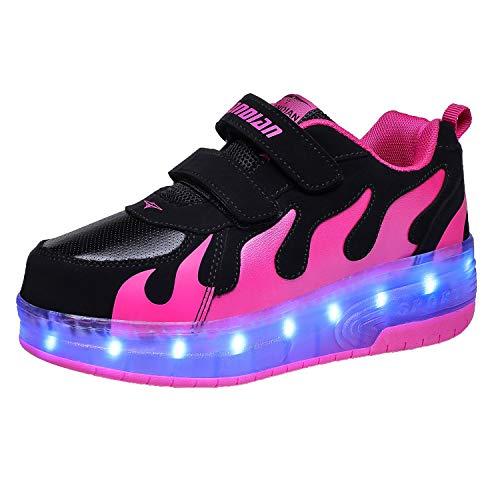 Good-time Kinder Junge Mädchen Led Schuhe Sneaker Mit Rollen 7 Farbe Farbwechsel Wheels Skate Schuhe(Doppelrad-Schwarz Rose,32 EU)