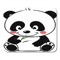 マウスパッドかわいいパンダ食べる座って空腹動物アジアアジア竹マウスパッドノートブック、デスクトップコンピューターマウスマット、オフィス用品