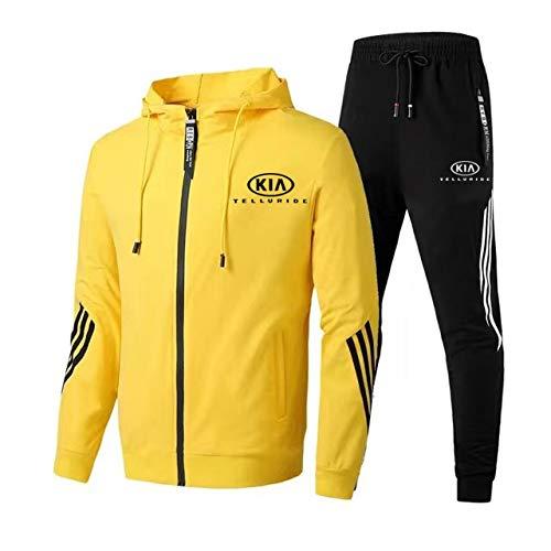 Hickeyy Herren Trainingsanzug Jogging Anzug K.i-a Tell-uride Sportanzug Kapuzen Zip Jacke + Hose Mantel/Gelb/M sponyborty
