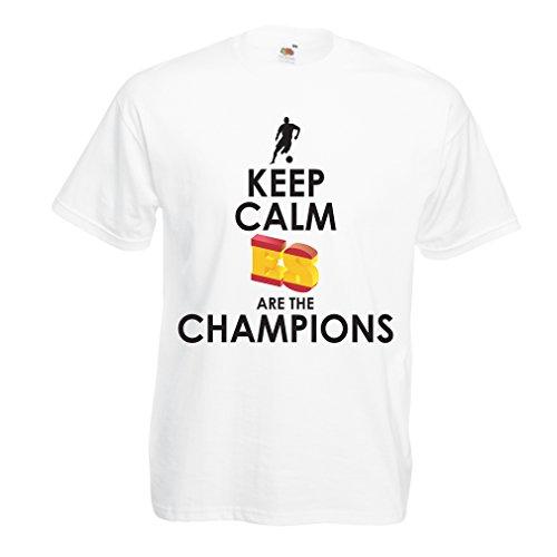 lepni.me Camisetas Hombre Españoles Son los campeones, Campeonato de Rusia 2018, Copa del Mundo - Equipo del fútbol de Camisa del admirador de España (Large Blanco Multicolor)