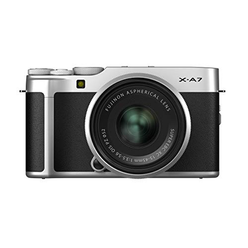 Fujifilm X-A7 24.2 MP Mirrorless Camera with XC 15-45 mm Lens (APS-C Sensor, Large 3.5' Vari-Angle Touchscreen, Face/Eye Auto Focus, 4K Video Vlogging, Blur Control, Film Simulations) - Silver