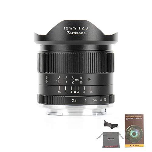 7Artians - Lente de enfoque fijo de 12 mm F2.8 APS-C para cámara Fuji X Mount como X-A1 X-A10 X-A2 X-A3 X-AT X-M1 XM2 X-T1 X-T10 X-T2 X-T20 X-Pro1 X-Pro2 X-E1 X-E2 X-E2s (negro)