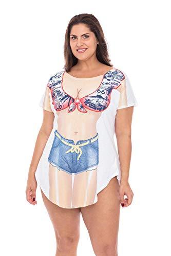MerchMixer - T-shirts - T-Shirts - Women's B&W Polka Dots Fun2Wear Cotton Cover-Up T-Shirts - Regular