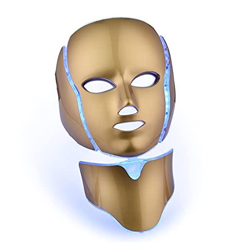 XWZ Máscara de Belleza LED, Instrumento de Belleza para Rostro y Cuello,Cuidado de la Piel Facial, antienvejecimiento, reafirmación de la Piel, reducción de Arrugas