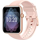 Fitniv Smart Watch, 1.55 Inch LCD Color Touch Screen Smartwatch for Android and iOS Phones, Heart Rate Monitor & Sleep Monitor, 5ATM Waterproof Pedometer Fitness Tracker for Women Men, Pink