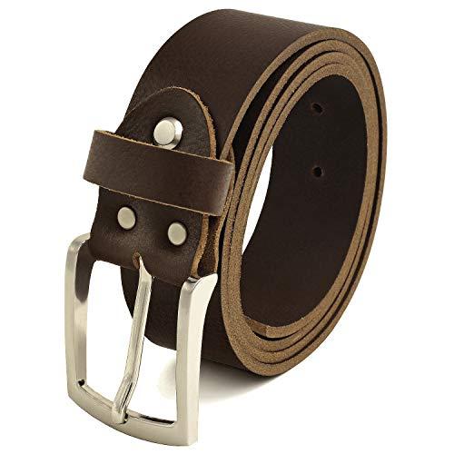 Fa.Volmer ® Gürtel Herren Ledergürtel aus Büffelleder für Männer Jeans Anzug Echtleder Braun 38mm breit kürzbar #GBr40Narb (Bundweite 115cm = Gesamtlänge 130cm)