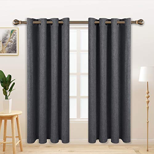 LORDTEX Burlap Linen Look Textured Blackout Curtains for Bedroom with Thermal Insulated Liner - Heavy Thick Grommet Window Drapes for Living Room, 50 x 63 Inch, Grey, Set of 2 Panels