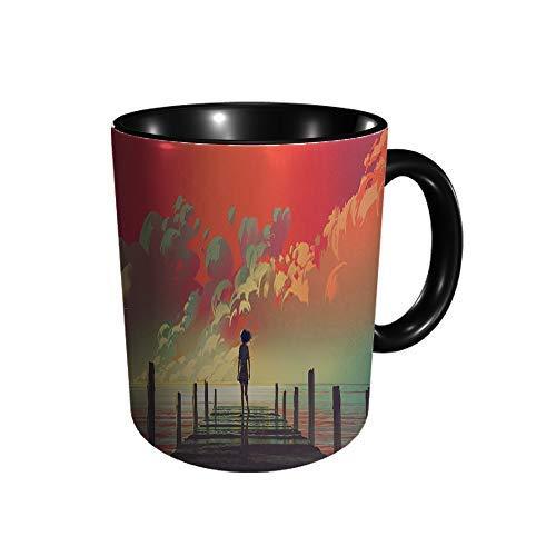 Hdadwy Schöne Landschaft der Frau allein stehend auf einem Keramikbecher Kaffee Tee Geschenk Geschenk Weihnachten Weihnachten 11oz