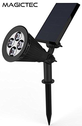 Solar Spotlights, Magictec Warm Light 2-in-1 Adjustable 4 LED Wall/Landscape Solar Lights with Automatic On/Off Sensor, 2 Pack