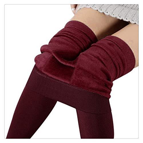 XBECO Leggings de invierno elásticos para mujer, con forro polar, ajustados, térmicos, buena elasticidad (color: rojo, talla: talla única)