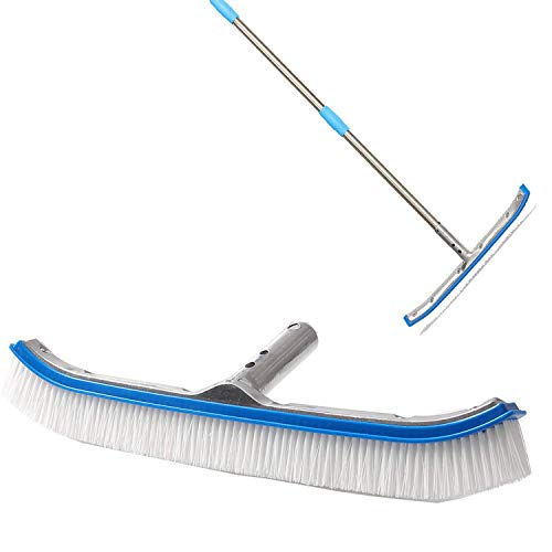 """MIYA Swimming Pool Brush with 10ft Pole - 18"""" Polished Nylon Bristles Pool Brush Head - Brush Designed for Cleans Walls Tiles and Floors"""