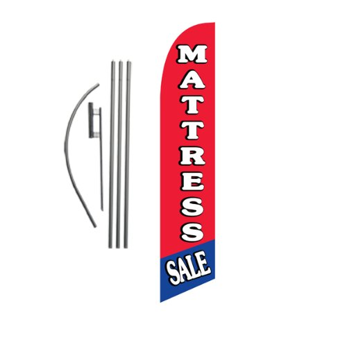 Mattress Sale Advertising Feather Banner Swooper Flag Sign with Flag Pole Kit and Ground Stake, Red and Blue